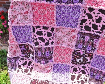 Rag Quilt - MADE TO ORDER - Cowgirl - Pink Purple - Horses - Guitars - Backing Fabric Options - Rag Lap Quilt - Horse Quilt - Girl Rag Quilt