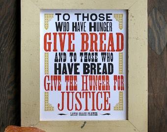 Give Bread letterpress print