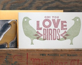 Love Birds letterpress card