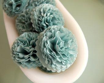 Button Mums Tissue Paper Flowers 1 inch Blue Haze Grey Blue Wedding, Bridal Shower, Baby Shower Decor