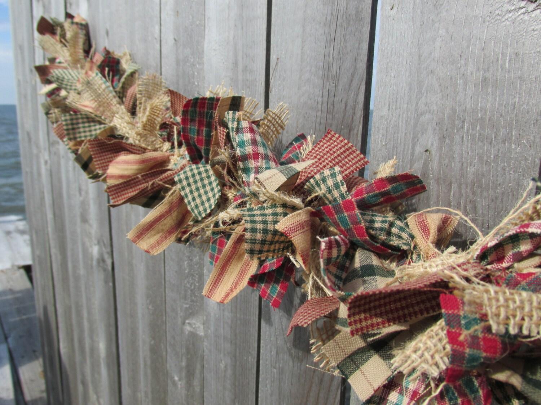 Antique christmas garland burlap homespun by ragwreathboutique for Burlap christmas curtains