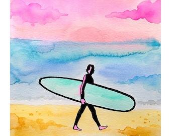 Surfer watercolor print