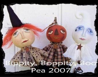 Bippity Boppity Boo, A Primitive, Folk Art, Ghost, Pumpkin, Witch, Shaker, Bobbin Head, Pattern by Pea