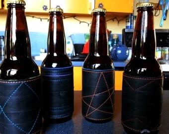 Beer Sleeves - Recycled Bike Rubber - Biker Gift - Beverage Sleeve - Cozies - Cooler