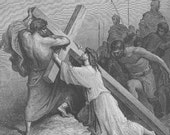 Jesus Christ CRUCIFIXION Dore Golgathe Romans Passion  ~~ 1800s Old Vintage Antique Art Print Engraving Biblical Gustave Dore [inv#86