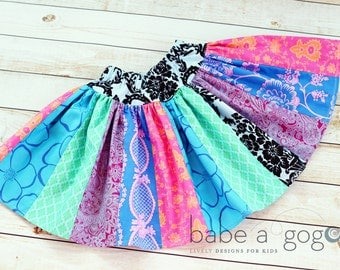 Girls Skirt Pattern Scrappy Twirl -- NB -12 girls PDF Instant