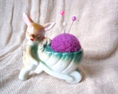 Vintage Rabbit Pushing Cart Toothpick Holder remade into Pin Cushion