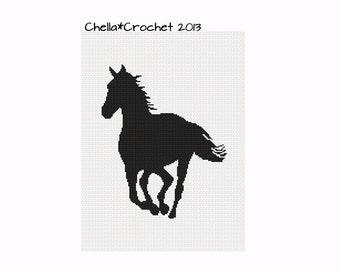 INSTANT DOWNLOAD Chella Crochet Black Horse Stallion Mare Running Silhouette Afghan Crochet Pattern Graph