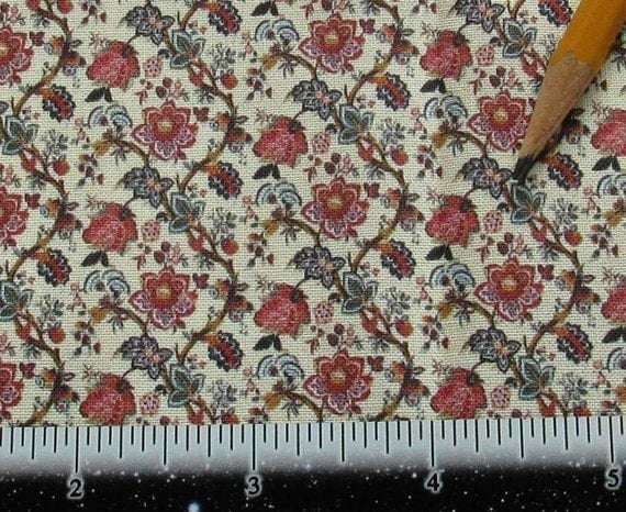 Dollhouse miniature victorian upholstery fabric french floral for Victorian floral fabric