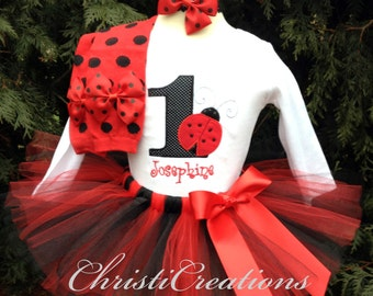 1st Birthday Tutu Outfit - Ladybug - Baby Girl Party Dress - Cake Smash Photo Prop
