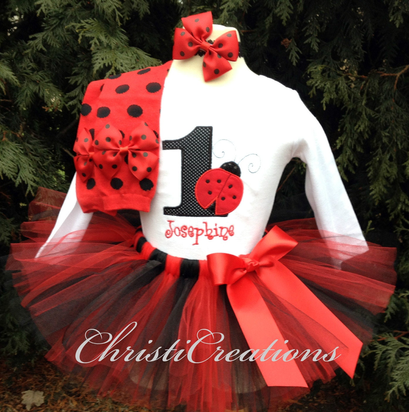 Ladybug 1st Birthday Outfit Baby Girl 1st By ChristiCreations