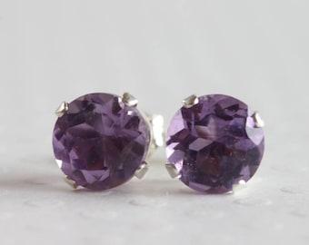Amethyst Stud Earrings 6mm Sterling Silver  Genuine Natural Purple Amethyst Gemstone  February Birthstone