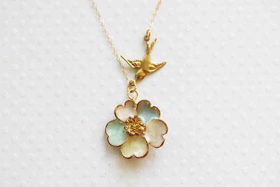 Pansy Necklace Flower Necklace Pastel Necklace Bridesmaid Gift