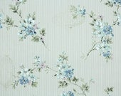 1950s Vintage Wallpaper by the Yard - Floral Wallpaper with Blue and Lavender Flowers and Lanterns on Pinstripe