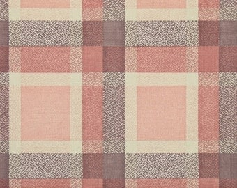 1950's Vintage Wallpaper - Plaid Vintage Wallpaper of Pink Brown and Cream