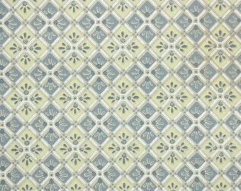 1930s Vintage Wallpaper by the Yard - Yellow and Gray Geometric Square Tiles