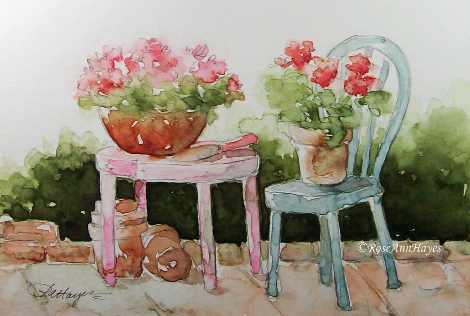 Watercolor painting of geraniums on the patio by roseannhayes - Care geraniums flourishing balcony porch ...