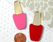 NAIL POLISH CABS - Set of 2 Gold Mirror Lids with Red and Pink Bottles Laser Cut Acrylic Cabochons
