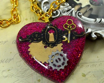 FORGIVENESS- Steampunk key, Brass keyhole and Gears -  Resin Heart Necklace in MAGENTA Glitter