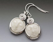 Carved Cow Bone Round Moon Face Cameo Sterling Silver Wire Wrapped Earrings
