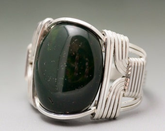Bloodstone Heliotrope Cabochon Sterling Silver Wire Wrapped Ring ANY size