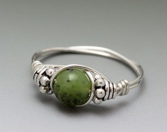 Nephrite Jade Bali Sterling Silver Wire Wrapped Beaded Ring ANY size