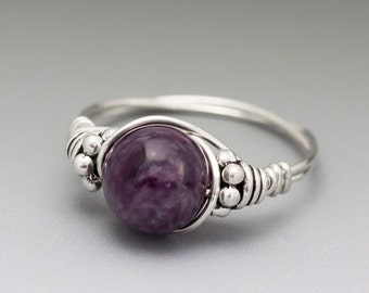 Charoite Bali Sterling Silver Wire Wrapped Ring ANY size