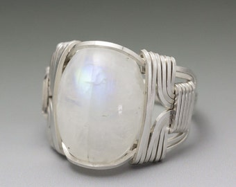 Rainbow Moonstone Sterling Silver Wire Wrapped Cabochon Ring - Made to Order and Ships Fast!