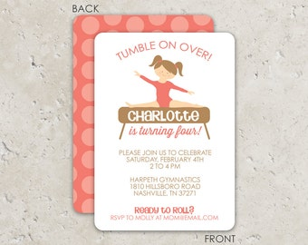 Gymnastics Invitations - gymnastics birthday party - 2 sided printing, choose any color