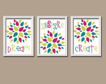 PLAYROOM Wall Art, CANVAS or Prints Baby GIRL Nursery Artwork, Quote Pictures, Dream Inspire Create, Girl Bedroom Decor Set of 3