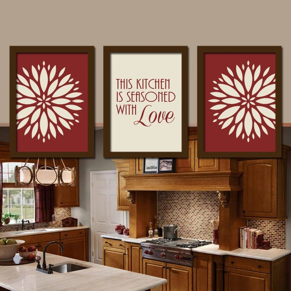 Colorful Kitchen Wall Art: KITCHEN Wall Art Canvas Artwork Colorful Bold Red By TrmDesign
