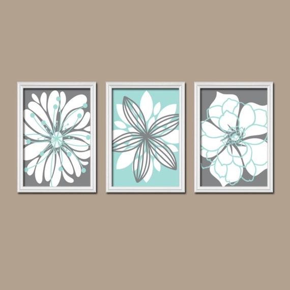 Bathroom Art Grey: Bathroom Artwork, CANVAS Or Prints Charcoal Gray Aqua Blue