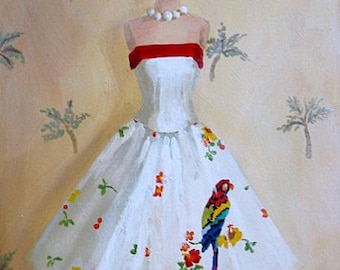 Resort Dress painting original ooak Palm Beach fashion art painting
