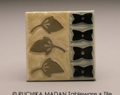 Three Leaves- 3x3 ceramic tile- Ruchika Madan