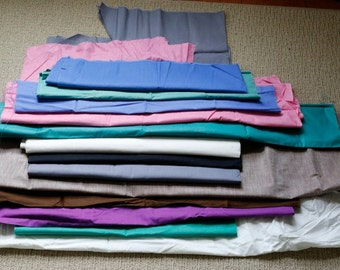 13 Pc LOT Vtg 40s 50s Quilt Fabric Cotton Solid Colors approx 2 Lbs