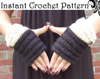 INSTANT DIGITAL PATTERN - Fingerless Gloves 2 Patterns in 1!