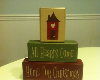 All hearts come home for Christmas distressed wood blocks primitive country rustic decor Christmas decorations hostess huge centerpiece