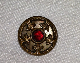 Antique Ruby Jewel Mirror Back Button