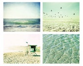 Beach photography set of four pastel yellow aqua teal beach art waves birds discount print set  beach decor / four prints 5x7 8x10 11x14