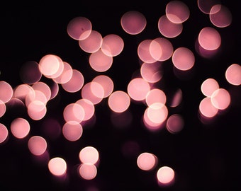 "Bokeh photography pink lights abstract wall art celebration holiday festive wall art ""Pink Champagne"""