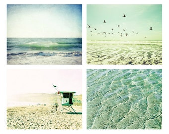 Beach photography set of four pastel yellow aqua teal beach art waves birds discount print set  beach decor / four prints 5x7 8x10 11x14