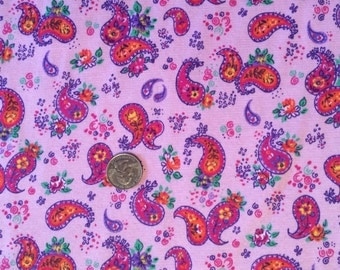 New pretty paisley on cotton interlock knit fabric 1 yard