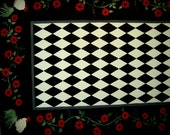"ROOSTER  Floorcloth / French country/ Red, Black & White   56""x84""  HARLEQUIN"