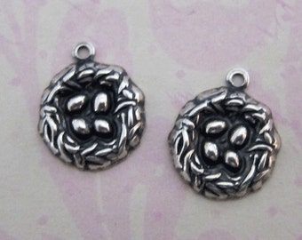 2 Silver Bird Nest Charms 3234