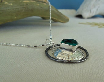 Emerald Topaz Silver Pendant Necklace
