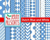 Dutch Blue Digital Paper Pack in 20 Graphic Patterns - for Scrapbooking, Card Making and Invitations - Instant Download
