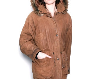 PARKA brown leather 80s 90s HOODED FUR winter coat