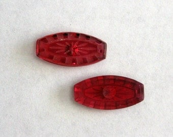 Vintage etched glass stones cabochons - purple red - 16x8mm (2)