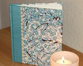 Blank Journal Sketchbook Aqua Blue Cherry  Blossom - Sketchbook, Drawing Book, Artist Journal. Diary and Gift