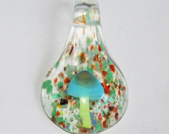 1 piece of  Green lampwork teardrop pendant 54x30mm